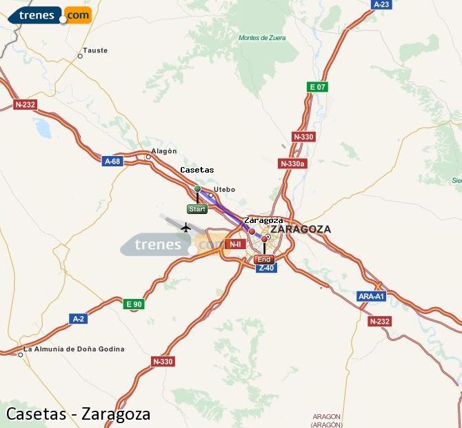Agrandir la carte Trains Casetas Zaragoza