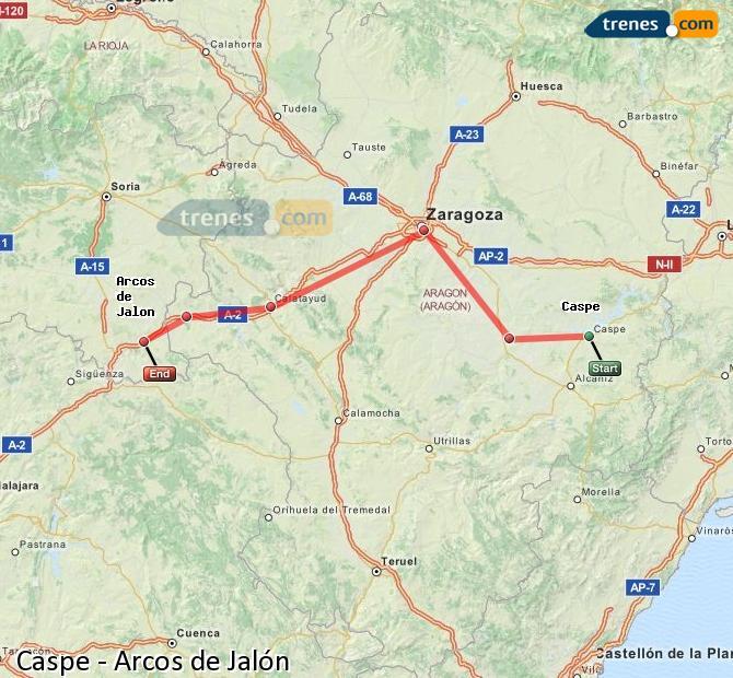 Ingrandisci la mappa Treni Caspe Arcos de Jalón