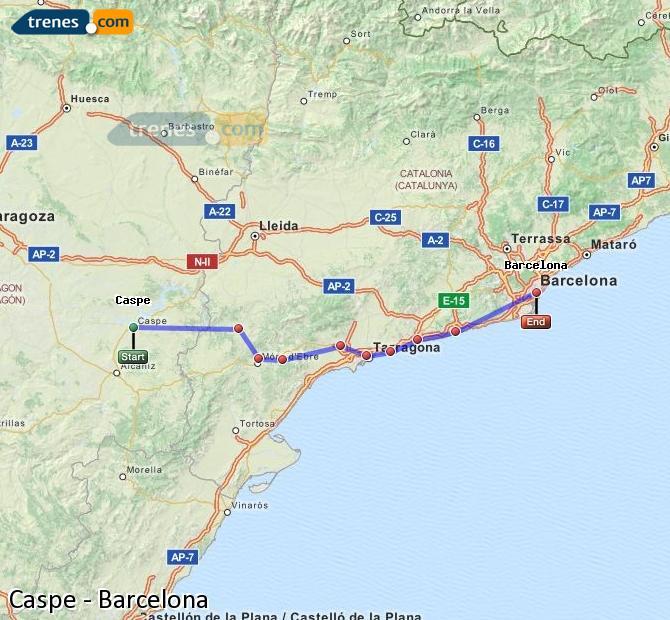Ampliar mapa Trenes Caspe Barcelona