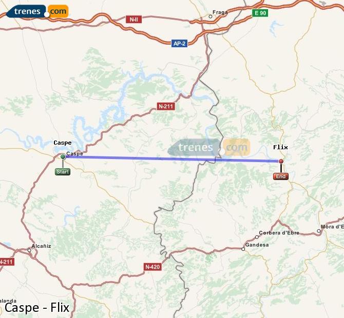 Karte vergrößern Züge Caspe Flix