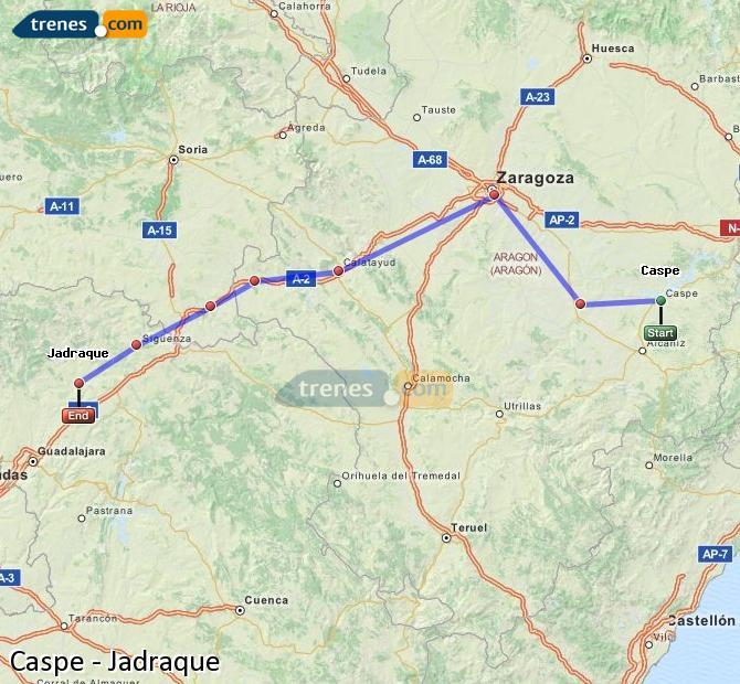 Ingrandisci la mappa Treni Caspe Jadraque