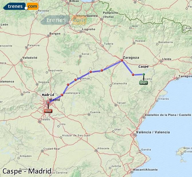 Agrandir la carte Trains Caspe Madrid