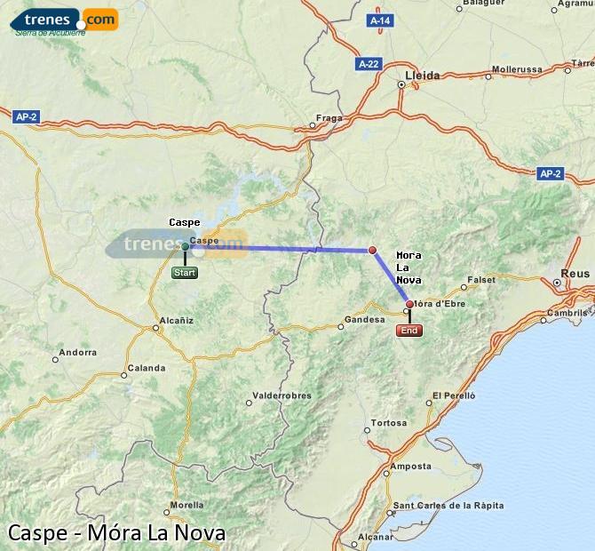 Ingrandisci la mappa Treni Caspe Móra La Nova