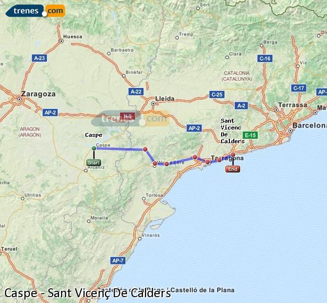 Karte vergrößern Züge Caspe Sant Vicenç De Calders