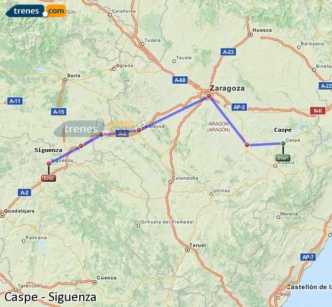 Enlarge map Trains Caspe to Siguenza