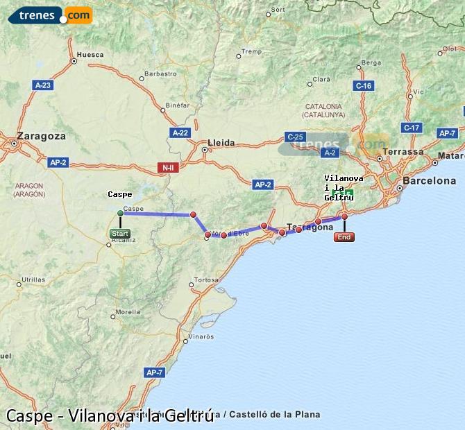 Ingrandisci la mappa Treni Caspe Vilanova i la Geltrú