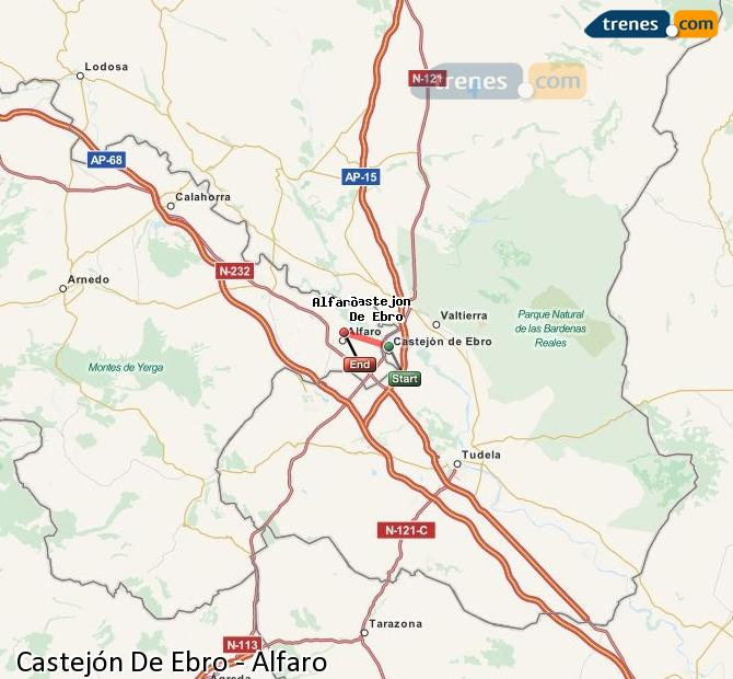 Enlarge map Trains Castejón De Ebro to Alfaro
