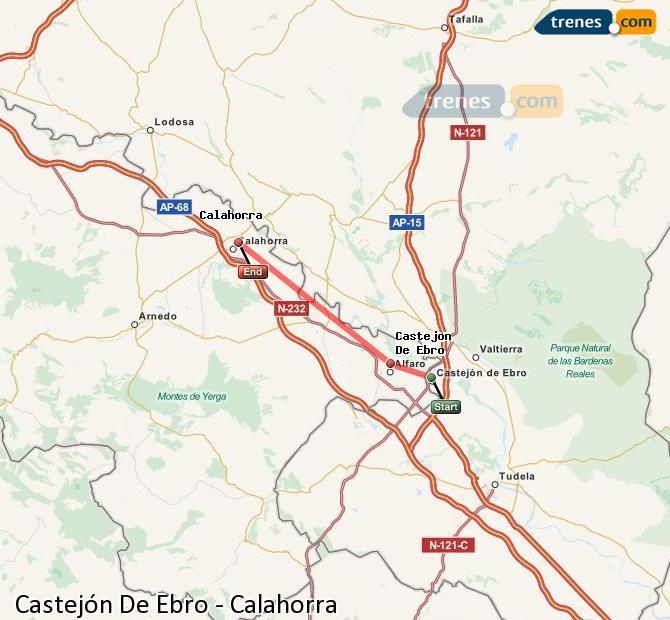 Enlarge map Trains Castejón De Ebro to Calahorra
