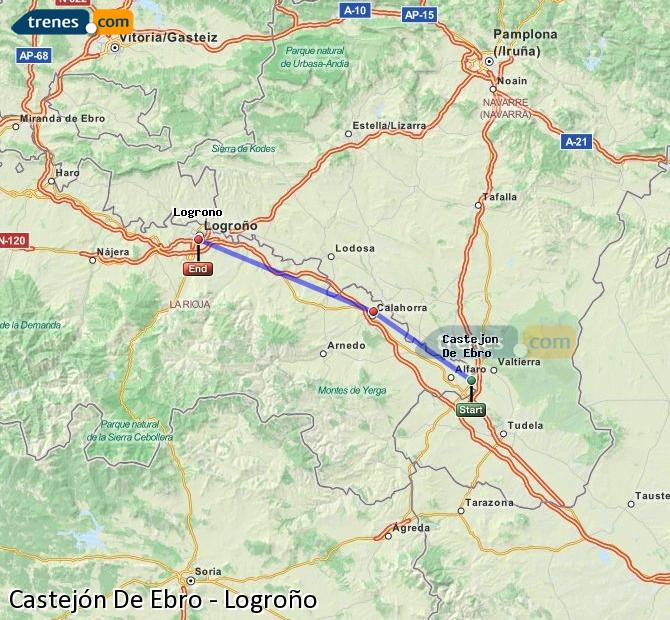 Ampliar mapa Trenes Castejón De Ebro Logroño