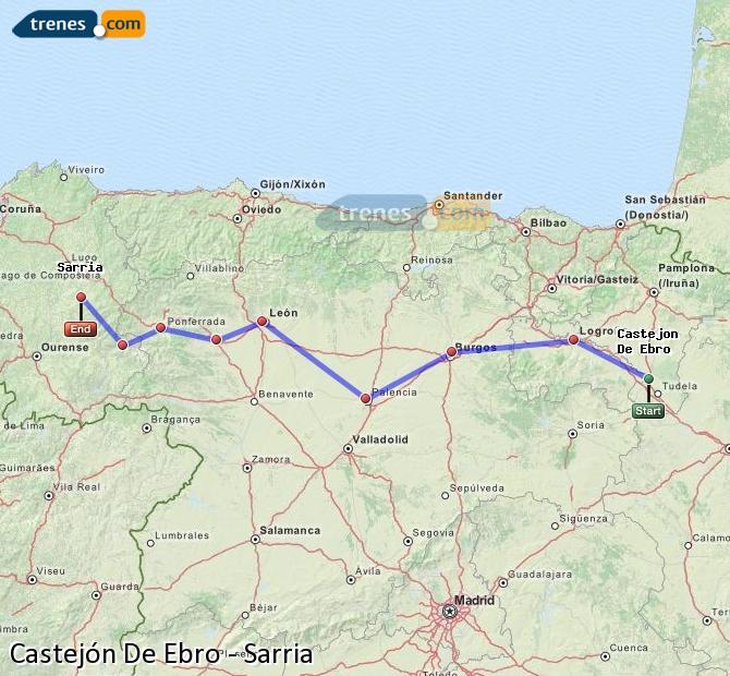 Enlarge map Trains Castejón De Ebro to Sarria