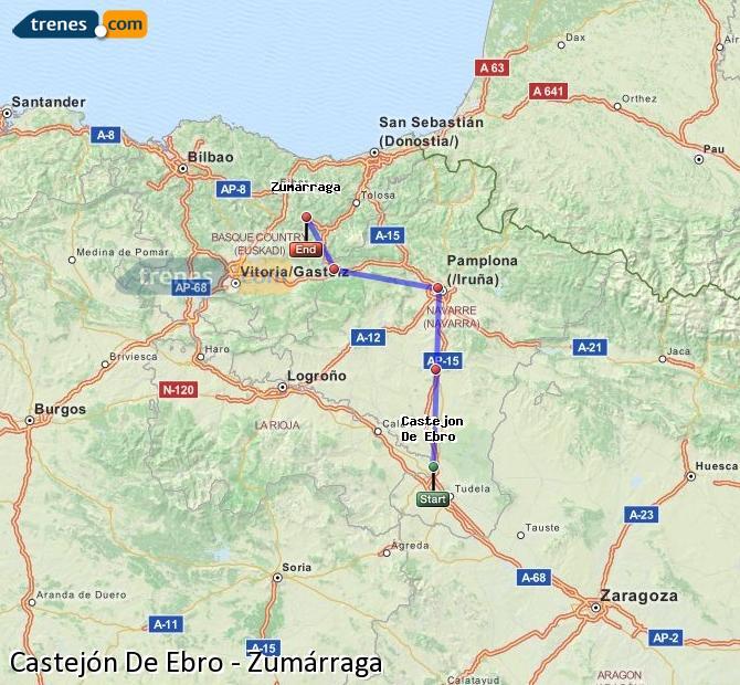 Ingrandisci la mappa Treni Castejón De Ebro Zumárraga