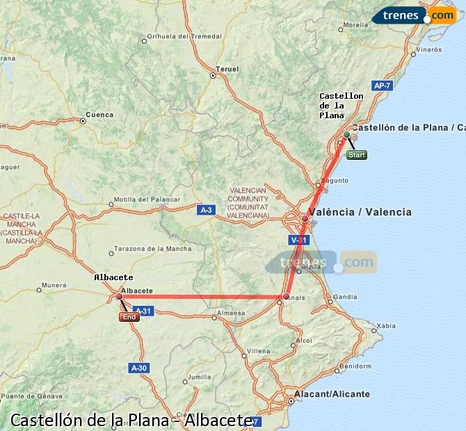 Enlarge map Trains Castellón to Albacete