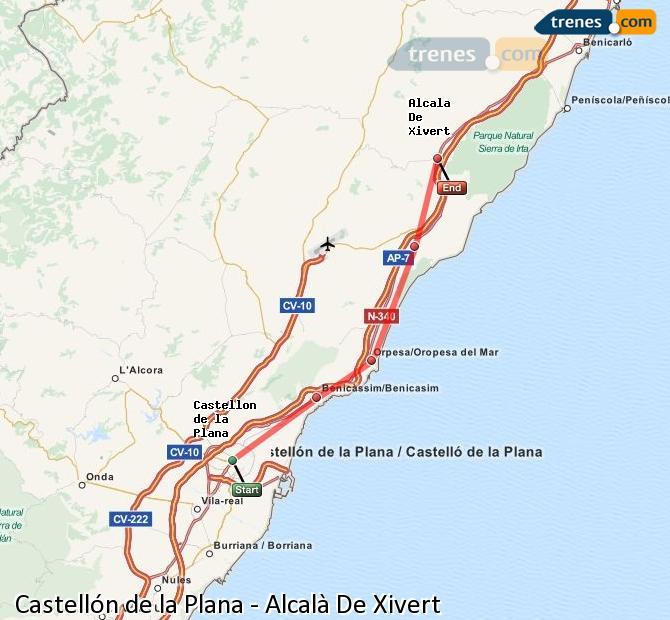 Ampliar mapa Trenes Castellón Alcalà De Xivert