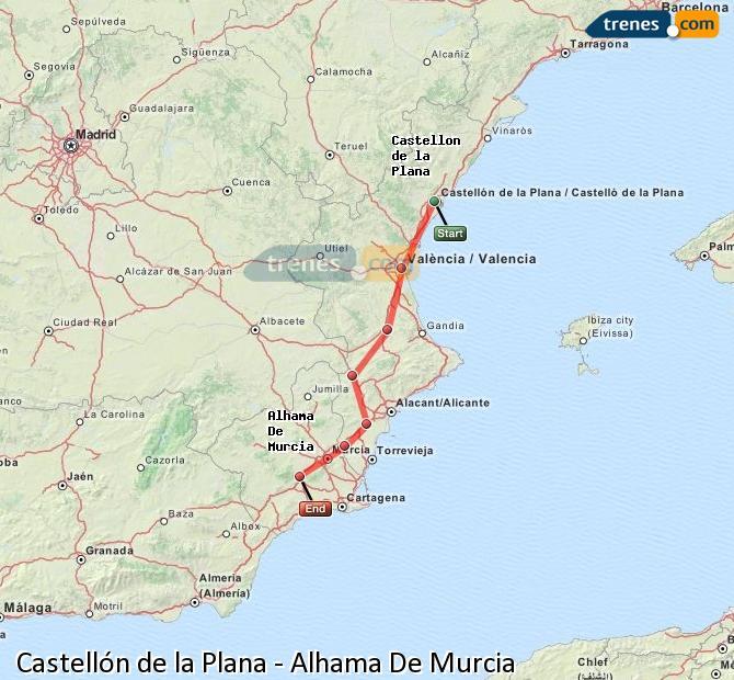 Karte vergrößern Züge Castellón Alhama De Murcia