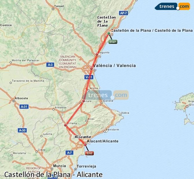 Ampliar mapa Comboios Castellón Alicante