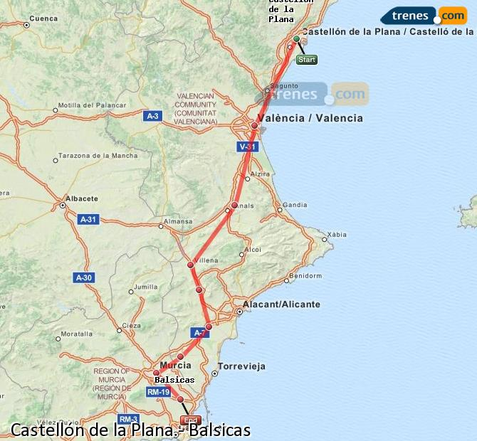 Ingrandisci la mappa Treni Castellón Balsicas
