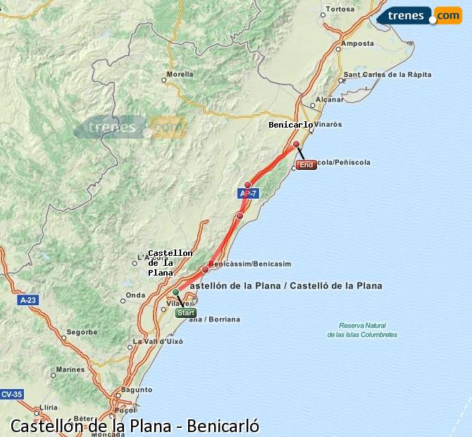 Enlarge map Trains Castellón to Benicarló