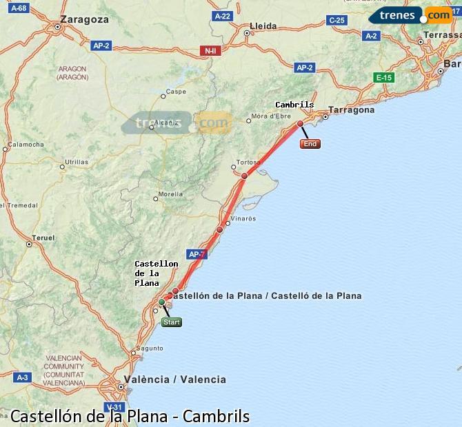Karte vergrößern Züge Castellón Cambrils