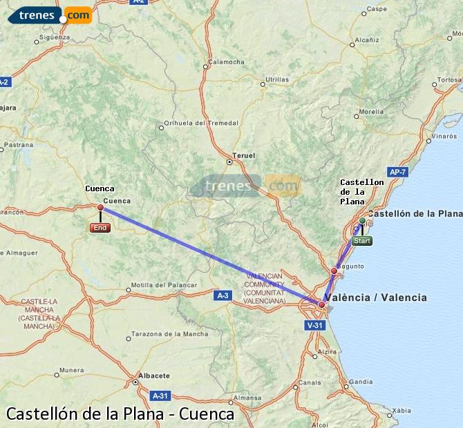 Enlarge map Trains Castellón to Cuenca