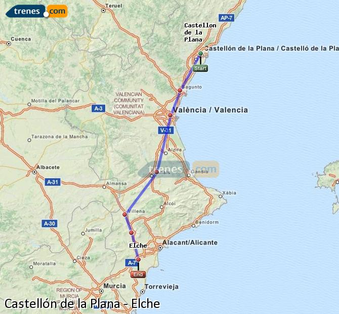 Enlarge map Trains Castellón to Elche