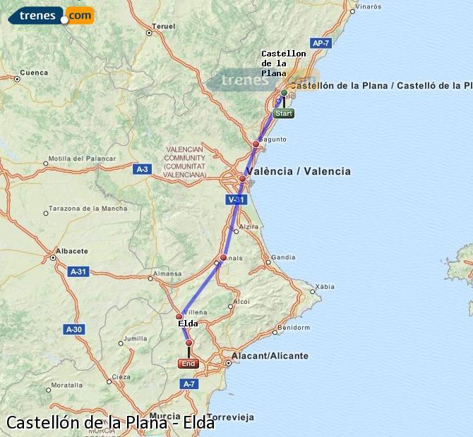 Karte vergrößern Züge Castellón Elda