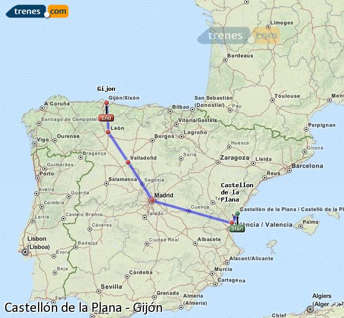Ampliar mapa Comboios Castellón Gijón
