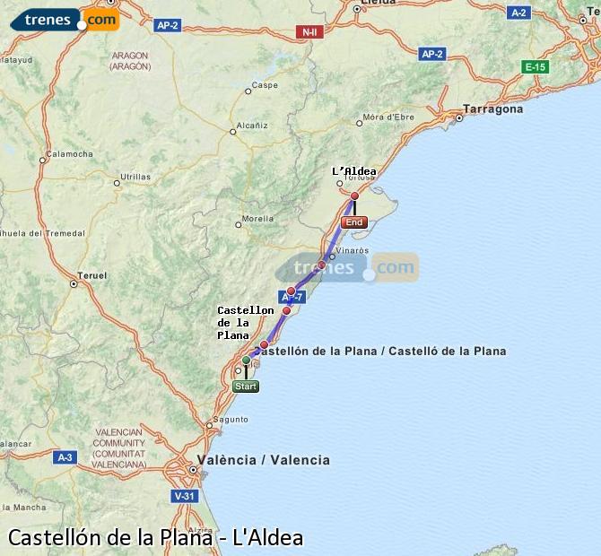 Karte vergrößern Züge Castellón L'Aldea
