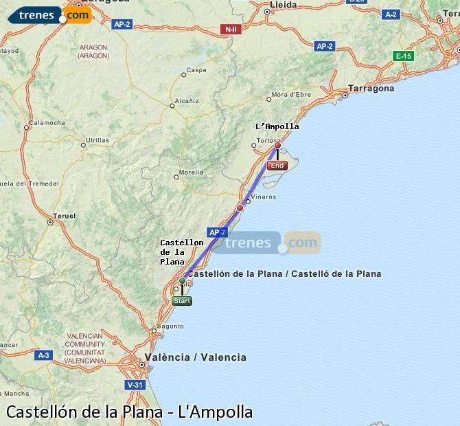 Ampliar mapa Trenes Castellón L'Ampolla