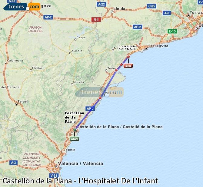 Agrandir la carte Trains Castellón L'Hospitalet De L'Infant
