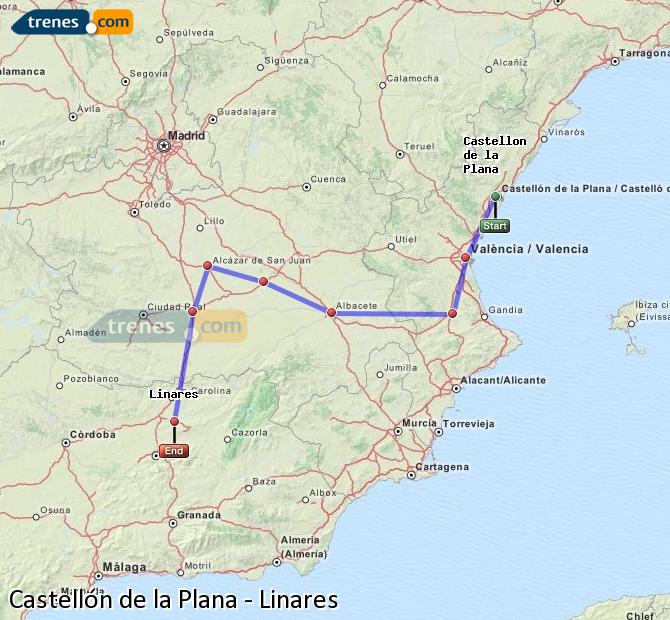 Enlarge map Trains Castellón to Linares