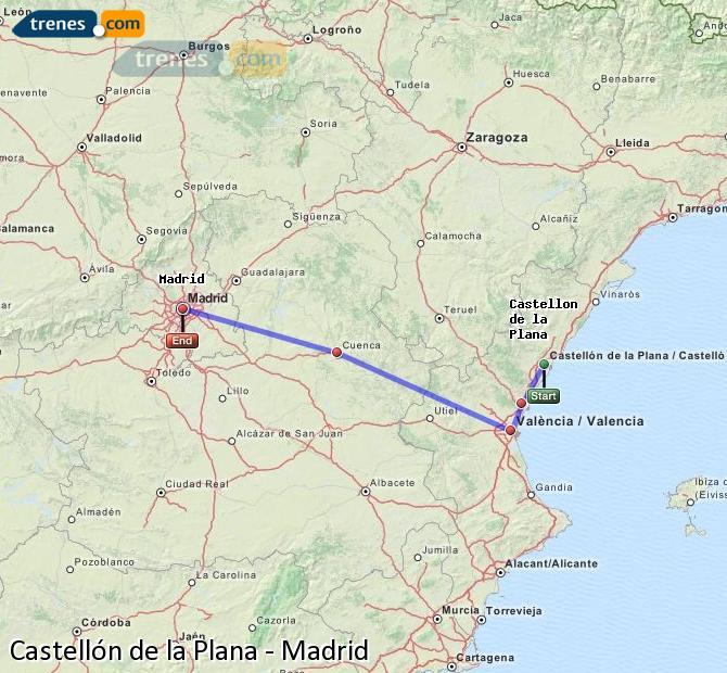 Karte vergrößern Züge Castellón Madrid