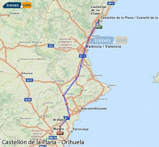 Karte vergrößern Züge Castellón Orihuela