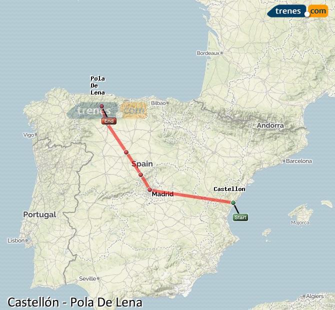 Agrandir la carte Trains Castellón Pola De Lena