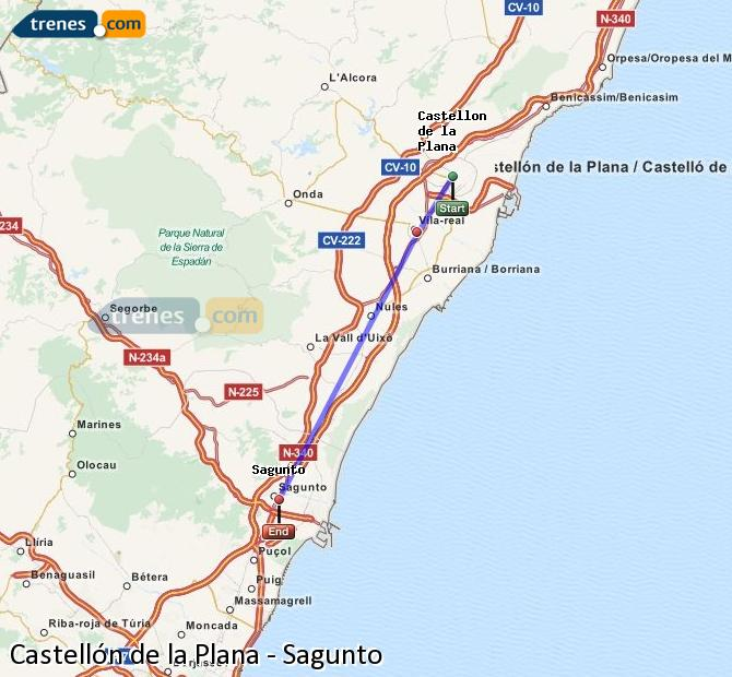 Enlarge map Trains Castellón to Sagunto