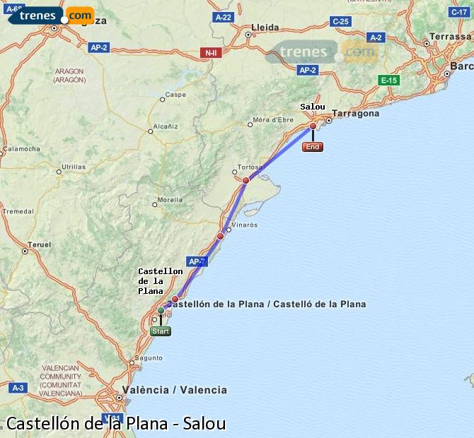 Enlarge map Trains Castellón to Salou