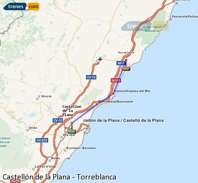 Enlarge map Trains Castellón to Torreblanca