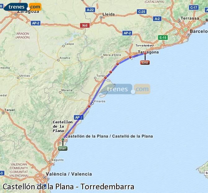 Ingrandisci la mappa Treni Castellón Torredembarra