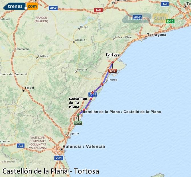 Enlarge map Trains Castellón to Tortosa