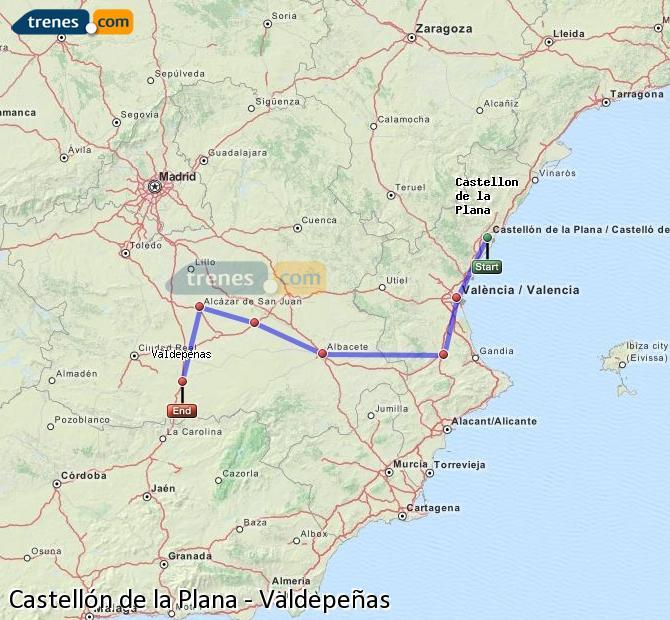 Trenes castell n valdepe as baratos billetes desde 23 25 - Plano de valdepenas ...