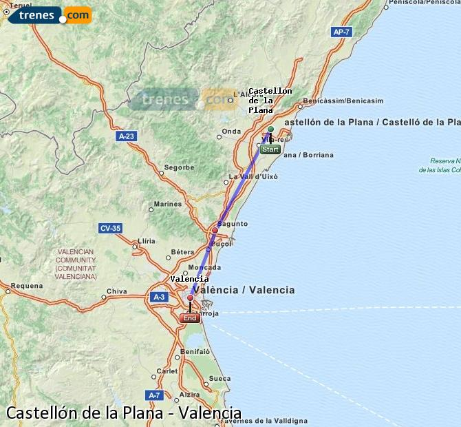 Enlarge map Trains Castellón to Valencia