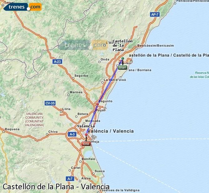 Ampliar mapa Trenes Castellón Valencia