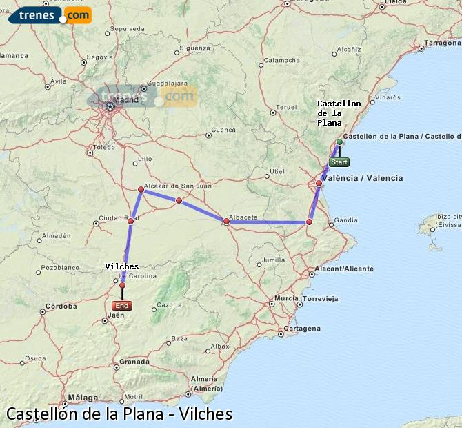 Enlarge map Trains Castellón to Vilches