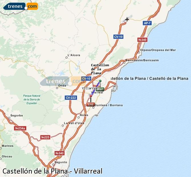 Enlarge map Trains Castellón to Villarreal