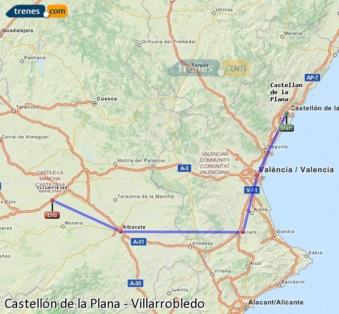 Agrandir la carte Trains Castellón Villarrobledo