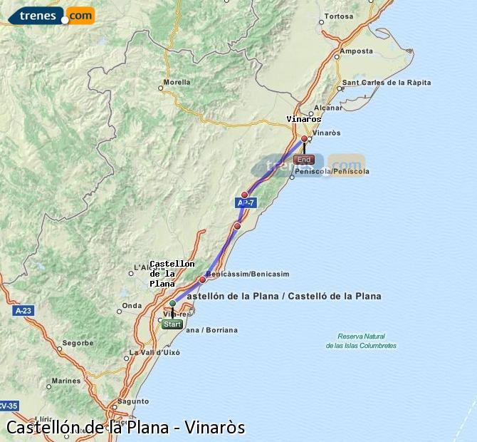 Karte vergrößern Züge Castellón Vinaròs
