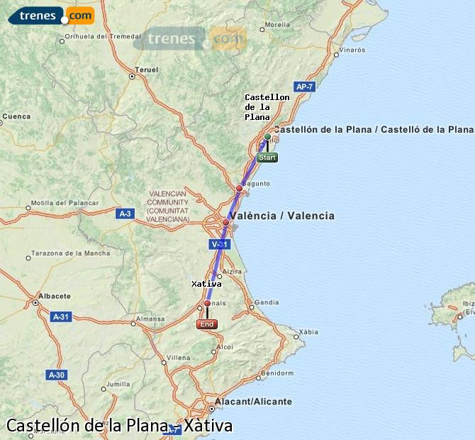 Enlarge map Trains Castellón to Xativa