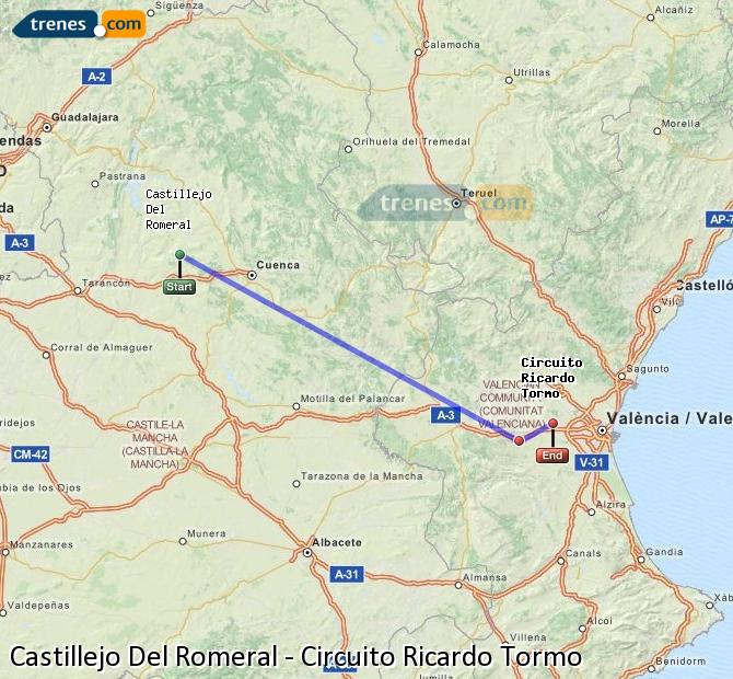 Enlarge map Trains Castillejo Del Romeral to Ricardo Tormo Circuit