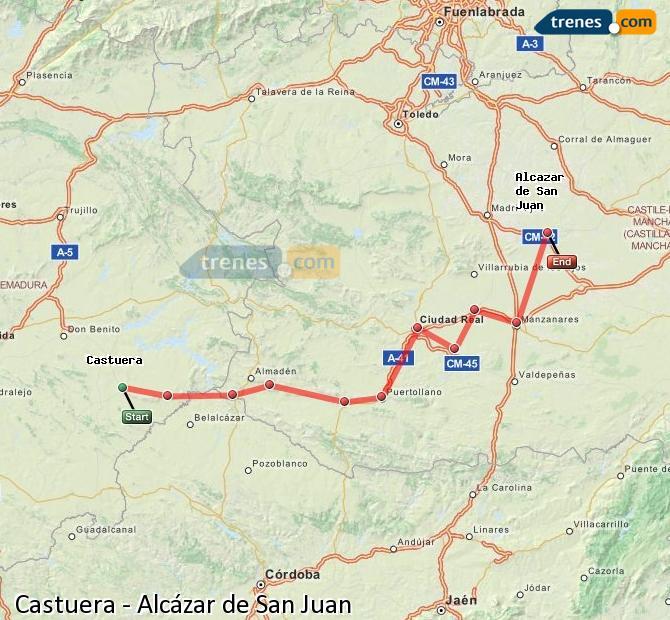 Ingrandisci la mappa Treni Castuera Alcázar de San Juan