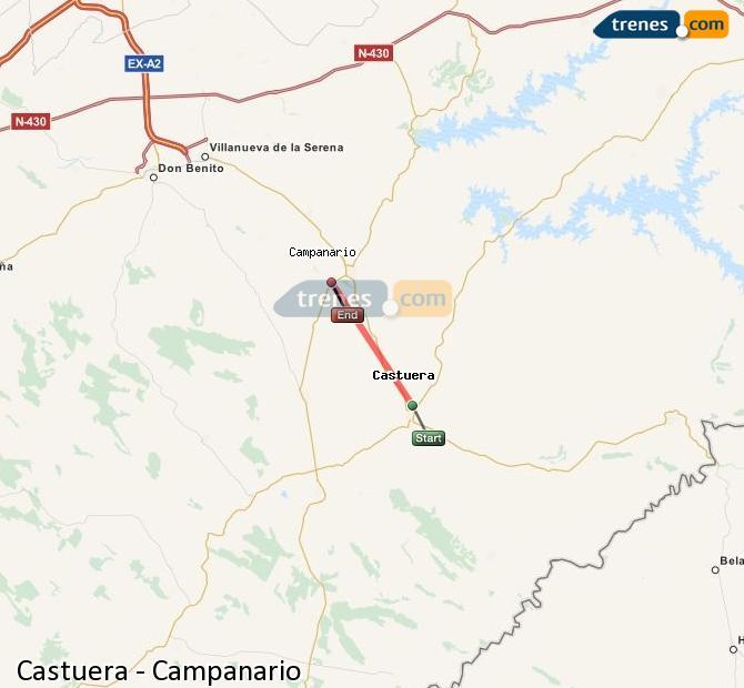 Ampliar mapa Comboios Castuera Campanario