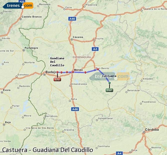 Ingrandisci la mappa Treni Castuera Guadiana Del Caudillo